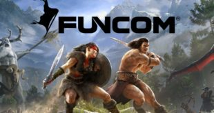 Funcom logo over a screenshot of Conan Exiles
