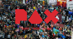 Image of the crowds at PAX East with the logo emblazoned across the image